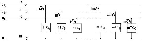 Схема питания группы однофазных технических средств ТС